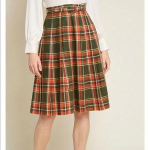 Last one! Modcloth Plaid Pleated Belted Midi Skirt